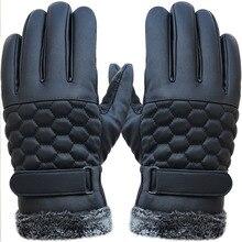 Winter Men Leather Gloves Touch Screen 2015 Fashion Men Gloves Warm Thicken Black Motorcycle Waterproof Driving Gloves Mittens