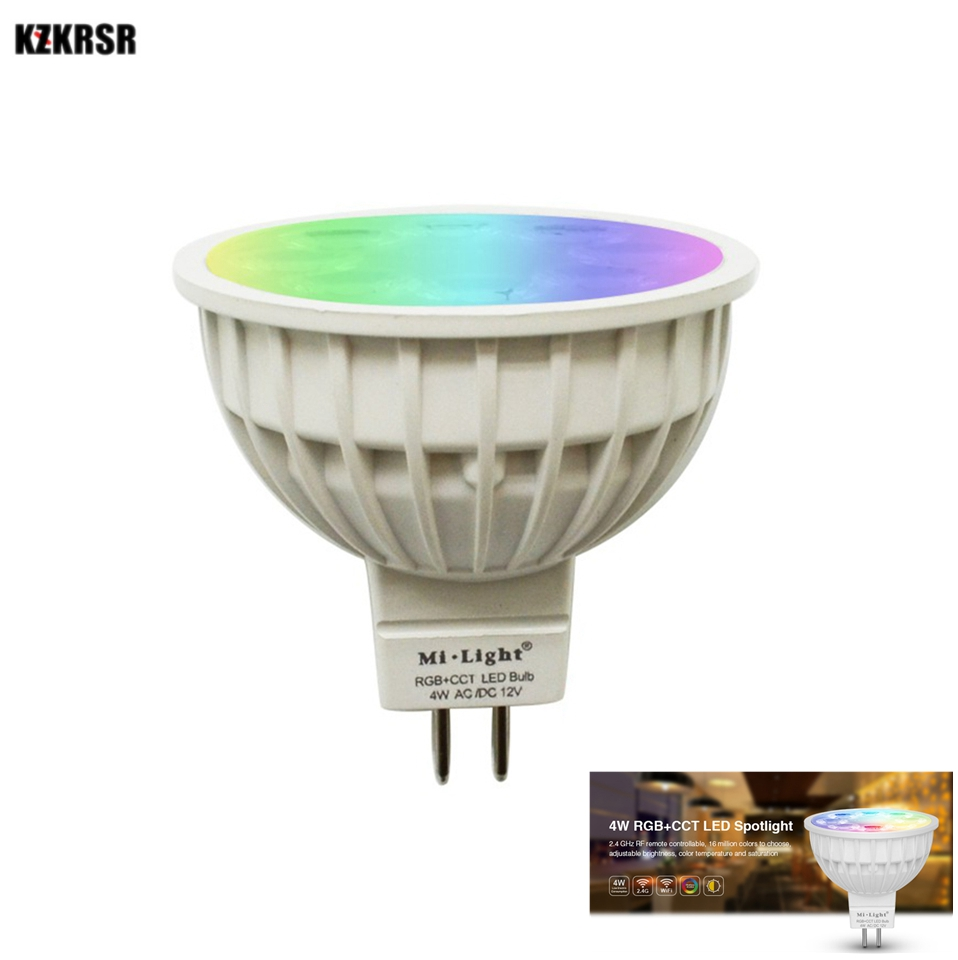 Milight MR16 4W RGBCCT Spot light DC12V Wireless Dimmable Led Bulb Lamp RGB+CCT Led Spotlight Smart Lamp LED Remote WIFI Control jmt 5 8g 25mw 32ch mini tiny av transmitter tx for diy indoor brushed racing drone fpv better than fx797t with 520tvl camera