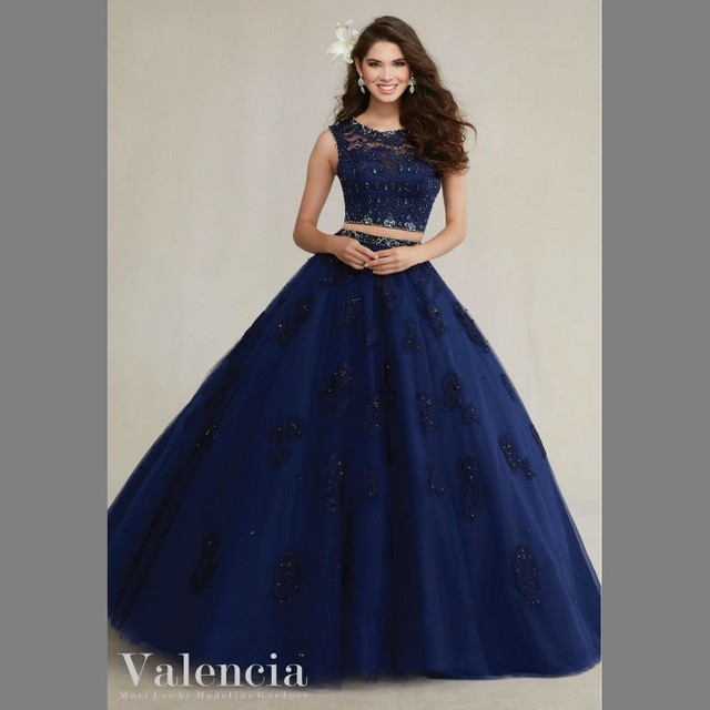 Midnight Blue Quinceanera Dresses Two Pieces Lace Cap Sleeve Tulle A-line  Girls 15 Party Dress Vestido de quinceanera 2016 New 106c98ee6603