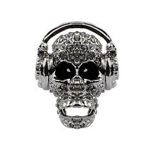 Skull ring for women girls stretch W moving jaw halloween jewelry gift biker