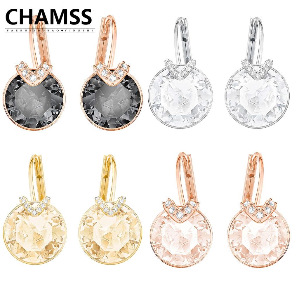 CHAMSS swans Earrings Rose Gold Diamond GOLD Earrings BELLA V PIERCED EARRINGS Black Swan Ear Studs Holiday gifts недорго, оригинальная цена