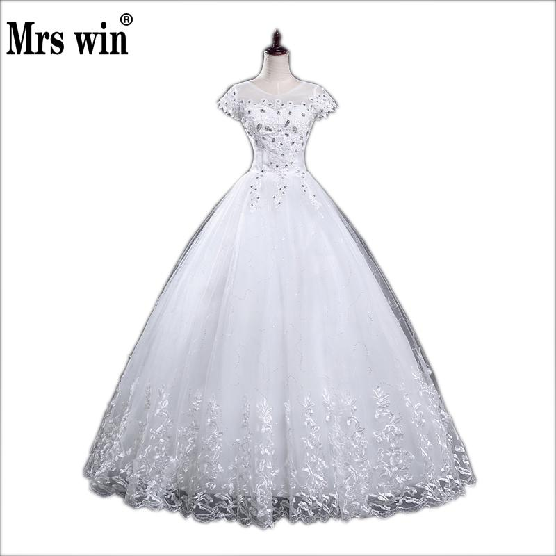 New Style O-Neck Short Sleeve White Crystal Decoration Lace MaterialBling Wedding Dress Custom Made C005