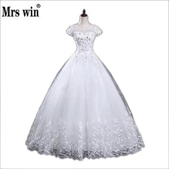 New Style O-Neck Short Sleeve White Crystal Decoration Lace MaterialBling Wedding Dress Custom Made C005 - discount item  20% OFF Wedding Dresses