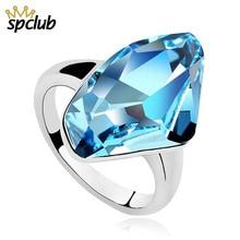 4922dba8906a Cristal azul de Swarovski anillos para las mujeres anillo de compromiso  romántico de lujo Bague Femme mejor regalo de alta calid.