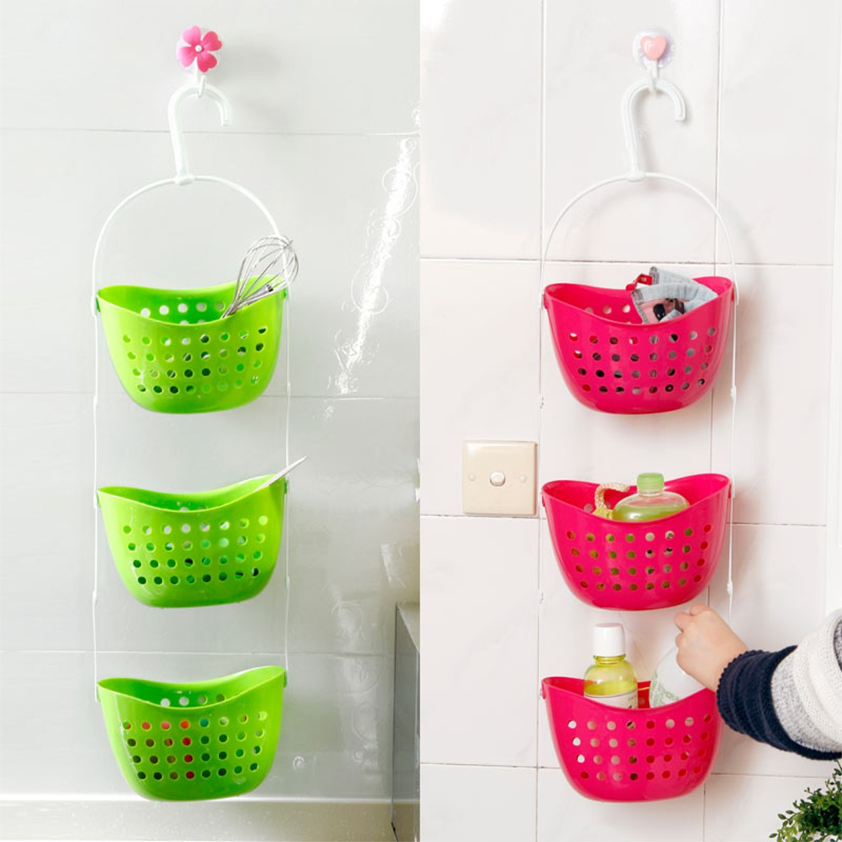 3Pcs/set Shower Bathroom Hanging Basket Mutifunctional Caddy Plastic Rack  Kitchen Organizer Storage Container Space Save In Storage Baskets From Home  ...