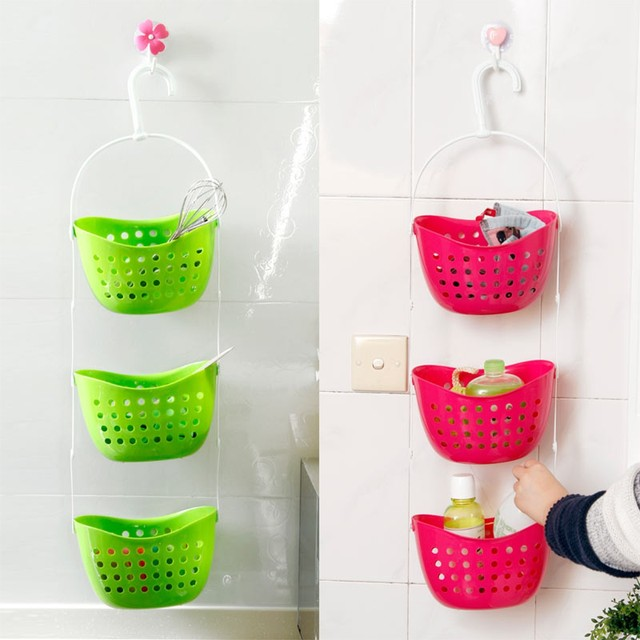 3Pcs/set Shower Bathroom Hanging Basket Mutifunctional Caddy Plastic ...