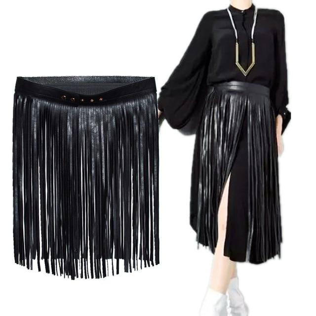 Black Pu Tassel Belt Stretch Waistline Plus Super Wide Long Belt Autumn Winter Adults Women Belts