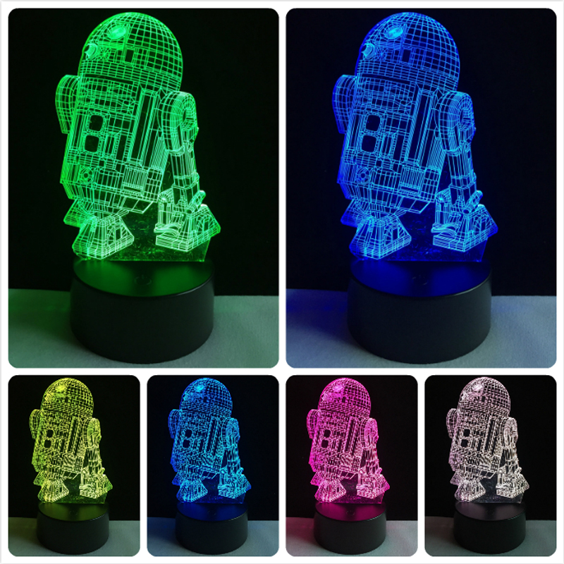 Hot Sale 3D Star Wars Warship Robot Kawaii R2-D2 Lamp 7 Colors Changing Night Light RGB LED Bulb Touch Remote Control Lighting футболка классическая printio r2 d2 star wars dead star