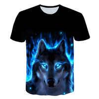 2019 sommer Kinder 3D T hemd Tier Wolf Kopf Blau Rose Blitz Mode Kinder T-shirt Großer Junge Mädchen Mode Kleidung t Tops