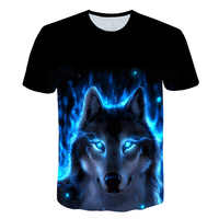 2019 verano niños 3D camiseta Animal cabeza de Lobo azul Rosa relámpago moda niños camiseta Big Boy Girl ropa de moda camisetas