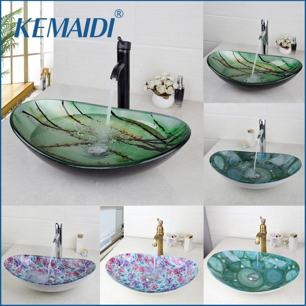 KEMAIDI New Bathroom Basin Tap Washbasin Tempered Glass Mixer Hand-Painted  Bath Brass Set Bathroom Vessel Faucet ORB Black Taps