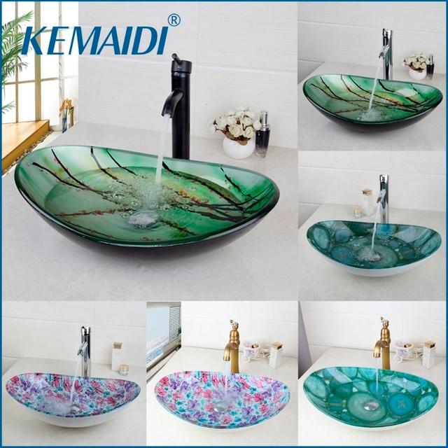 KEMAIDI New Bathroom Basin Tap Washbasin Tempered Glass Mixer Hand ...
