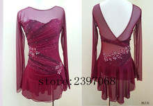 цены на Ice Skating Dresses Women Competition Ice Skating Clothing Pink Girls Custom Ice Skating Clothing  Wine Red Free Shipping B429  в интернет-магазинах