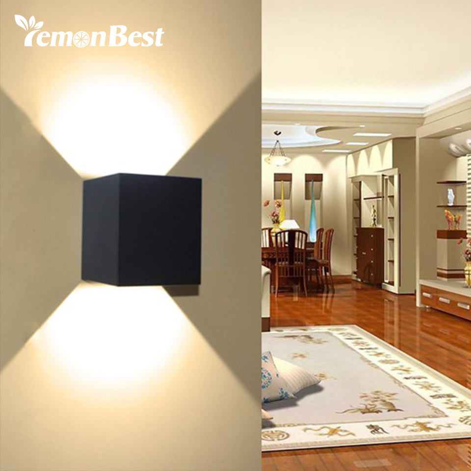 Waterproof Cube Cob Led Light Wall Lamp Modern Home Lighting Decoration Outdoor Wall Lamp Aluminum 7w 12w Ac85-265v Lights & Lighting