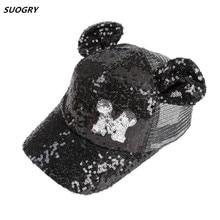 SUOGRY Baby Summer Hat Sequin Children Baseball Cap Mouse Ear Gillter Kids Sun Hats Casual Girls Snapback Hip Hop Caps