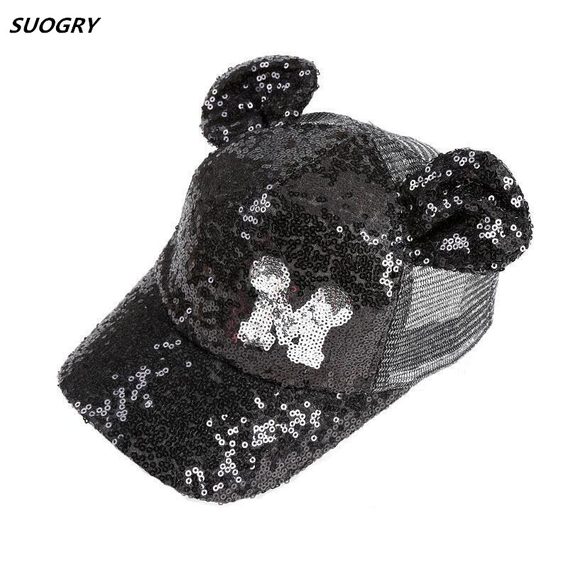 SUOGRY Baby Summer Hat Sequin Children   Baseball     Cap   Mouse Ear Gillter Kids Sun Hats Casual Girls Snapback Hip Hop   Caps