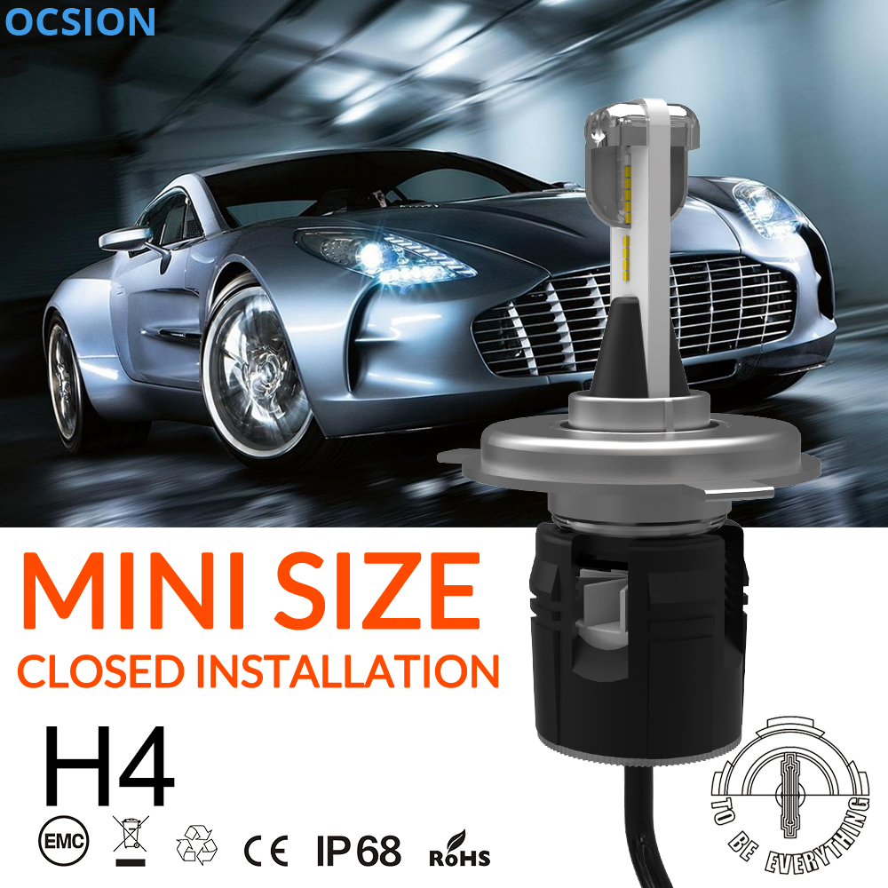 Turbine LED H4 Headlight Bulbs 48w Motorcycle Headlights 6000k H4-3 Hi Lo Auto Lamp Car Light Bulb Kit H1 H7 H11 HB3 HB4 skyjoyce mini led projector lens h4 led headlight bulbs led conversion kit h4 led bulb light lamp hi lo beam headlight lhd h4