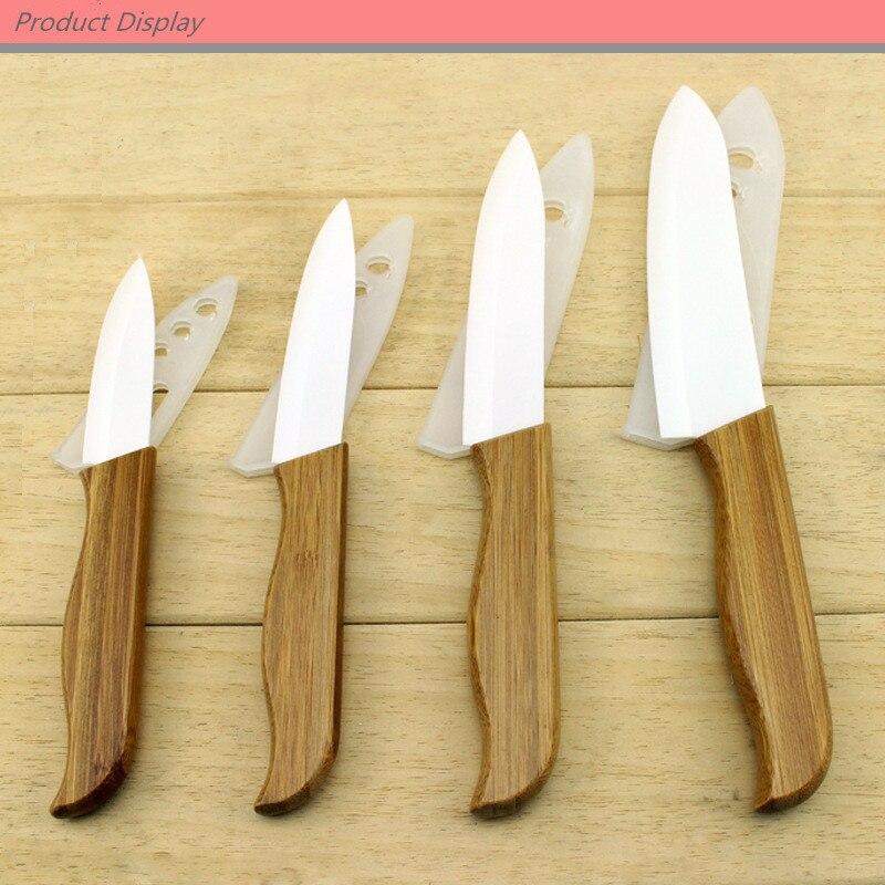 Findking poignée en bambou avec lame blanche couteau en céramique outils de cuisine 3