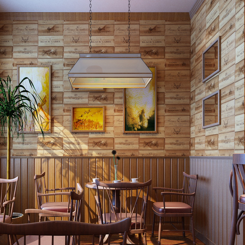 Bar Wallpaper: Classic Country Style Wallpaper Fashion Imitation Wood