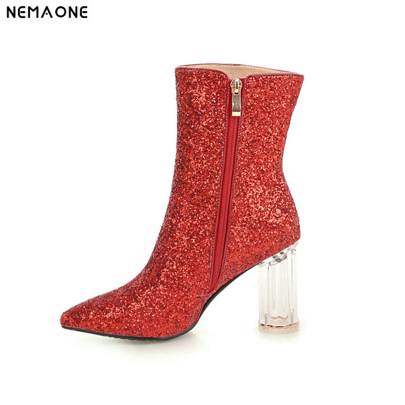 NEMAONE New thick high heels women boots shiny winter ladies ankle boots party dress wedding dancing shoes woman large size 43 цена
