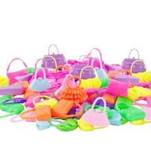 32 Item/Set Doll Accessories=10 Mix Fashion Cute Dress+ 4 Glasses+ 6 Necklaces+2 Handbag+ 10 Shoes Dress Clothes For Barbie Doll