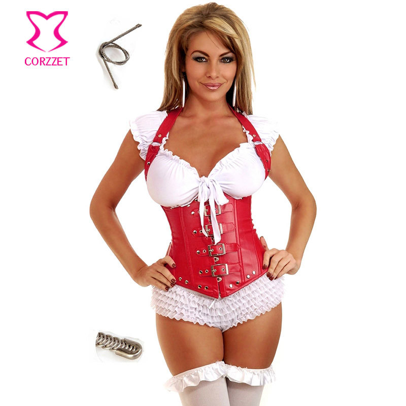 789a773503 Hot Steampunk Clothing Women Corpet Corselet Underbust Halter-neck Sexy Red Leather  Corset Vest Steel Boned Corses Para Mujer