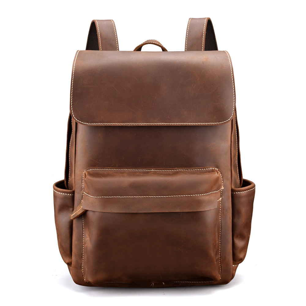 Luxury Vintage Durable Quality Crazy Horse Leather Men Backpack Casual Genuine Leather Mens Backpacks OK for 14 Laptop Luxury Vintage Durable Quality Crazy Horse Leather Men Backpack Casual Genuine Leather Mens Backpacks OK for 14 Laptop