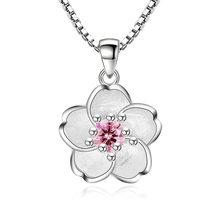 Colar de flores de cerejeira, venda quente, colar de flores, corrente de flor, rosa, roxo, pingente de cristal, joias, collier, femme, venda imperdível