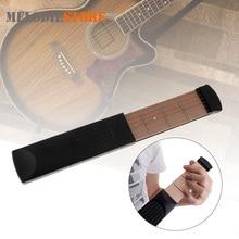 Portable Pocket Acoustic Guitar Practice Tool Gadget 6 String 4 Fret Guitar Chord Trainer Model Musical Instrument for Beginner