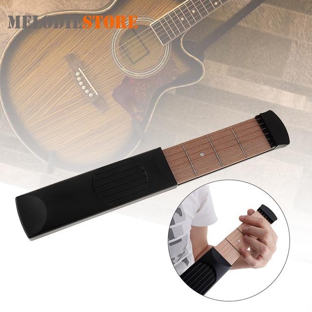Portable Pocket Acoustic Guitar Practice Tool Gadget 6 String 4 Fret