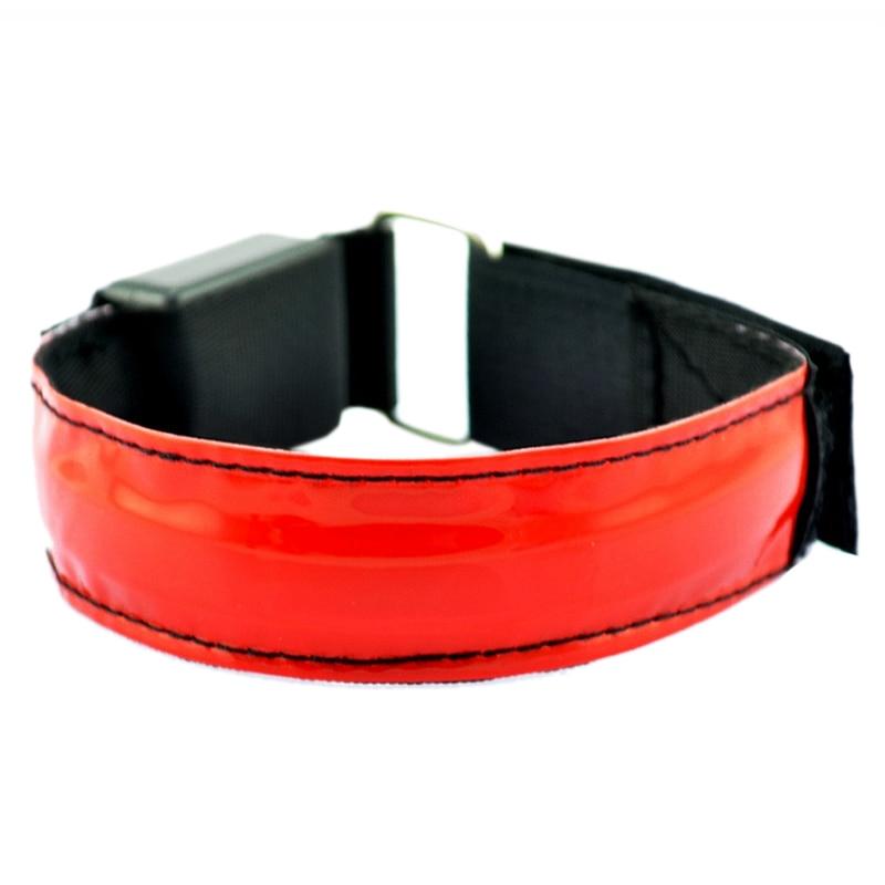 Светодиодный безопасности Светоотражающие ремень оснастки Wrap повязку работает браслет (батареи не включены) красный