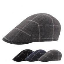 Винтажный клетчатый шерстяной картуз для мужчин, весенне-осенний мужской короткий козырек, шапка в стиле ретро, Зимний берет в клетку, Кепка в стиле газетчика