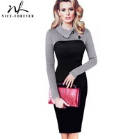 Elegant Vintage Winter Dress Full Sleeve Patchwork Red Plaid Turn Down Collar Buttons Business Sheath Pencil