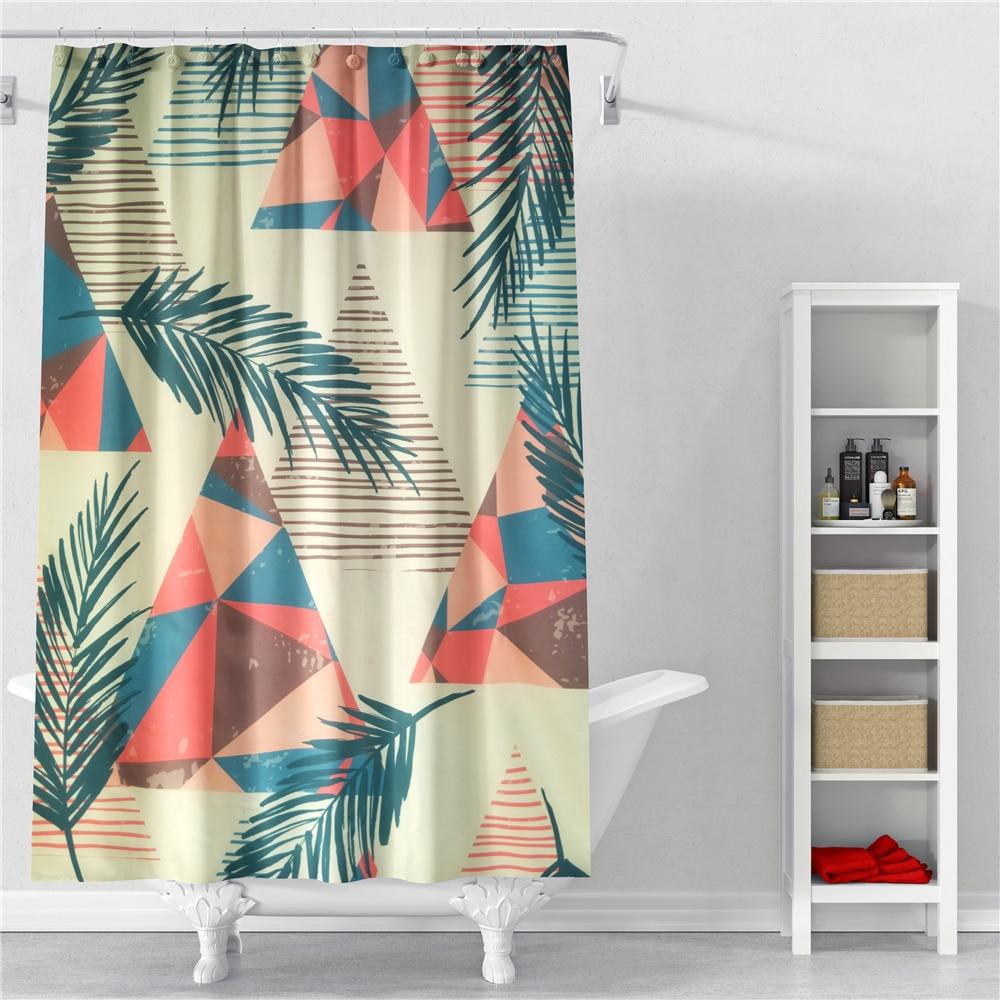 FGHGF Waterproof Polyester Fabric Shower Curtain Leaf Pattern Bath Curtain For Bathroom With Plastic Hooks