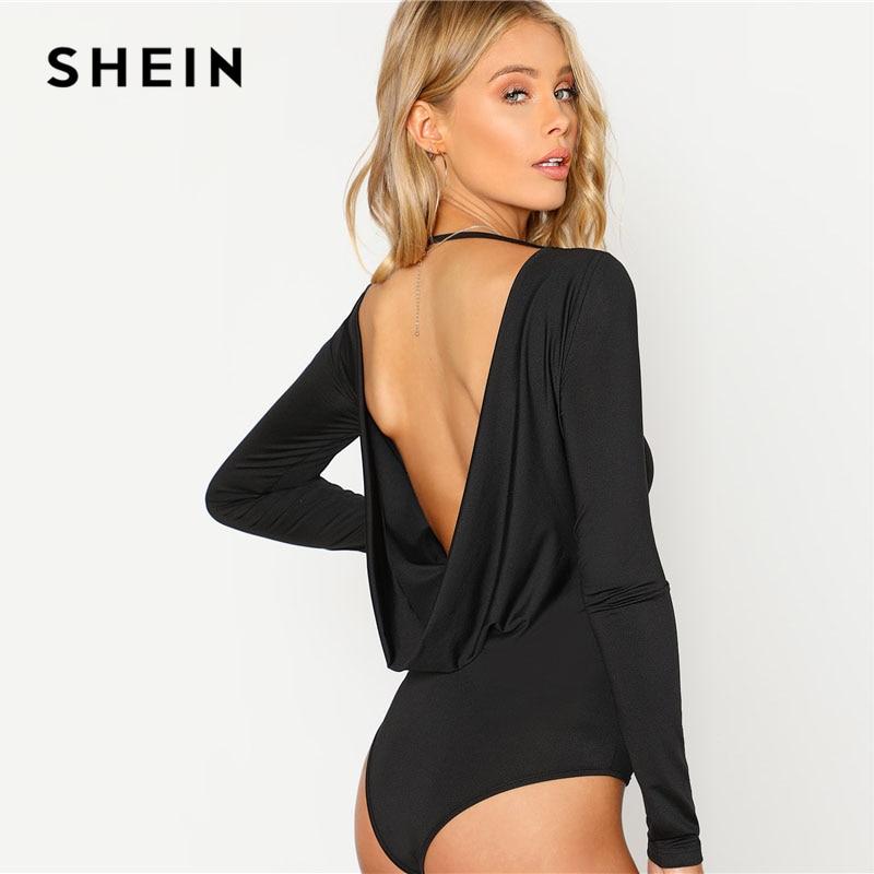 SHEIN Black Backless Solid Skinny Bodysuit Round Neck Open Back Long Sleeve Draped Plain Women Rompers 2018 Sexy Bodysuit