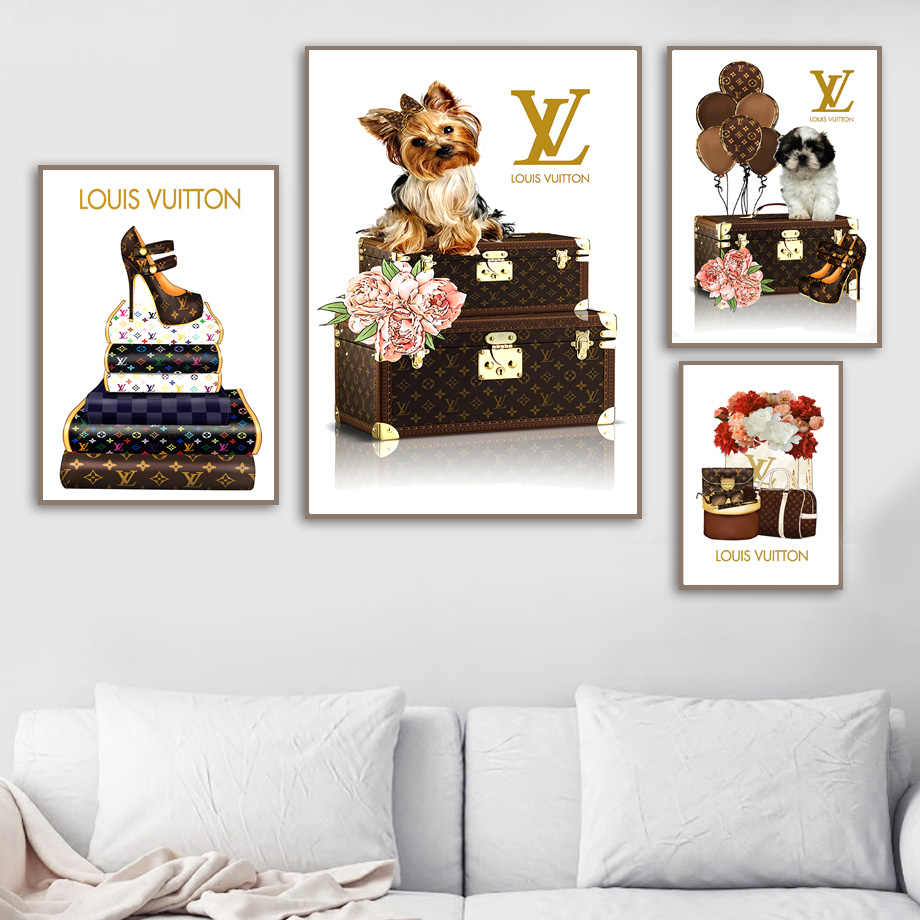 a9a246bfbb3cd0 ... Peony Flower Balloon Dog Champagne Wall Art Canvas Painting Nordic  Posters And Prints Wall Pictures For ...