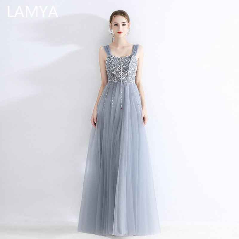 LAMYA Sexy cristal perles robes de soirée pour les femmes mode Tulle robe de bal longueur de plancher robe de soirée vestido longo festa