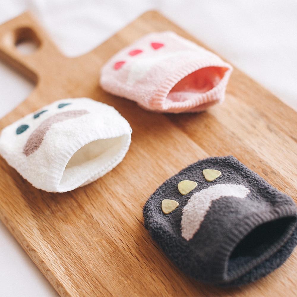 6 Pairs/lot Winter New Korean Version Of Baby Socks 0-2 Years Male And Female Baby Coral Velvet Paws Warm Non-slip Socks