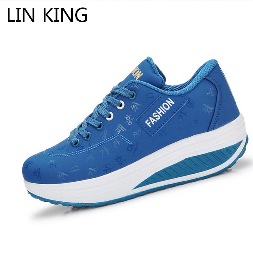 LIN KING New Women Slimming Swing Shoes Height Increasing Ankle Boots Lace Up Elevator Shoes Outdoor Travel Muffins Single Shoes d lin d154455