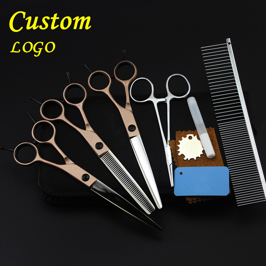 Custom high quality 5 kit japan pet 7 inch shears dog grooming hair scissors cutting thinning barber tools hairdressing scissors 4 kit japan yellow pet 7 inch shears cutting hair scissors dog grooming clipper pets thinning barber comb hairdressing scissors