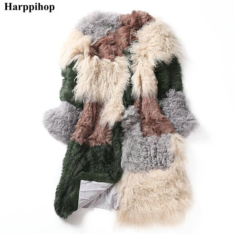 2018 Autumn And Winter Rabbit Hair Wool Knit Fur Coat Female Short Paragraph Long Paragraph Round Collar Colorful Color Coat