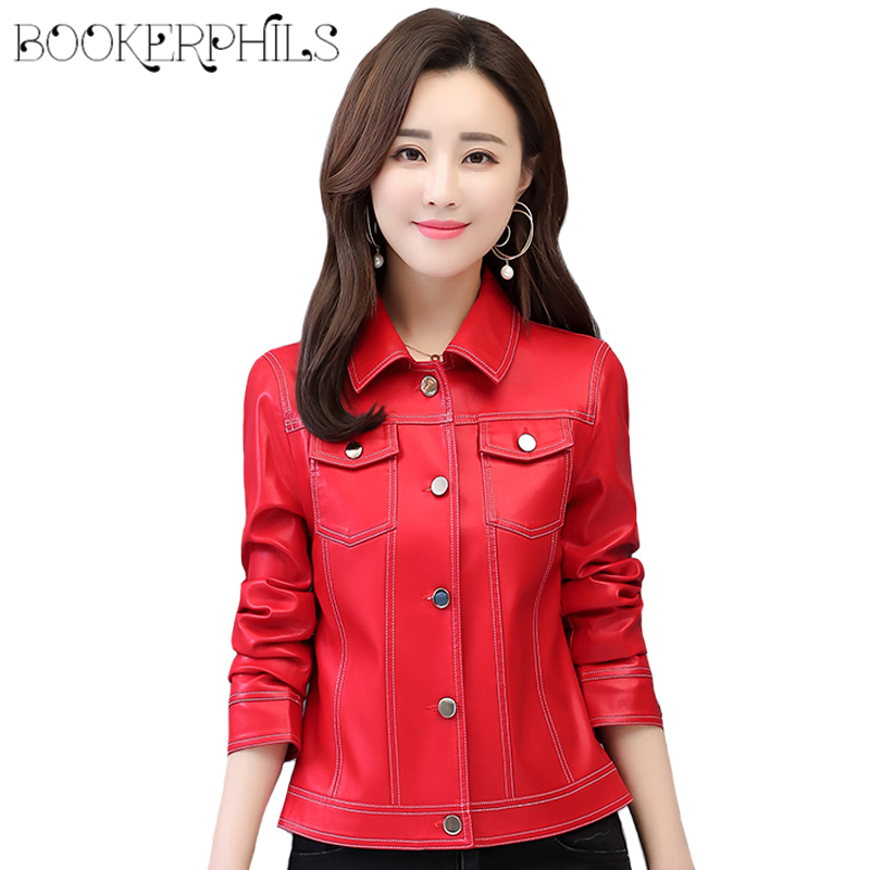 2019 New Fashion Women Soft Faux   Leather   Jackets and Coats Lady Plus Size 4XL Short Slim Women Pu   Leather   Jacket Coats Female
