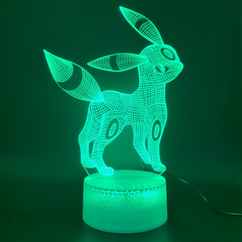 Led Night Light Game Pokemon Go Umbreon Figure Home Decoration 3d Lamp Birthday Gift for Kids Bedroom Novelty Light Eevee Family