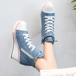 Image 5 - 2018 New Fashion Women High Top Canvas Sneakers Wedges Shoes Womens Denim Ankle Lace Up Ladies Ankle Canvas Shoes Woman