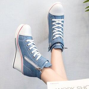 Image 5 - 2018 חדש אופנה נשים גבוהה למעלה בד סניקרס טריזי נעלי נשים של ג ינס קרסול תחרה עד גבירותיי קרסול נעלי בד אישה