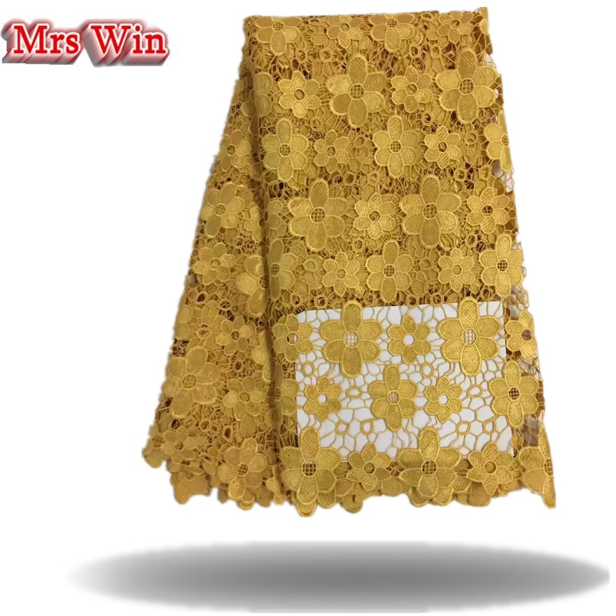 2018 Eco-friendly Mesh new arrival Hot African Guipure Water Soluble Lace,high Quality Cord Lace Fabric for Women Dresses