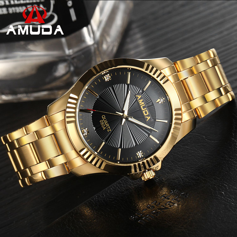 Fashion Brand Luxury AMUDA Watches Men Full Steel Golden Watch Business Casual Quartz Wristwatch Male Clock Relogio Masculino rosra brand men luxury dress gold dial full steel band business watches new fashion male casual wristwatch free shipping