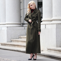 S XXXL European Stlye Women Maxi Long Woolen Coat Winter Design Army Green Notched Collar Maxi Overcoat Plus Size Clothing