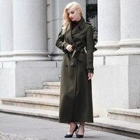 S xxxl в европейском стиле женское длинное шерстяное пальто Макси зимнее дизайнерское армейское зеленое с зазубренным воротником длинное пал
