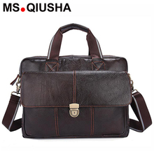 MS.QIUSHA Genuine Leather bag men messenger bags vintage briefcase cowhide crossbody business shoulder bag casual lock handbags